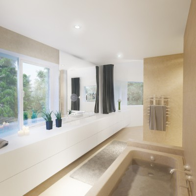 Seamless transition from bathroom to bedroom.