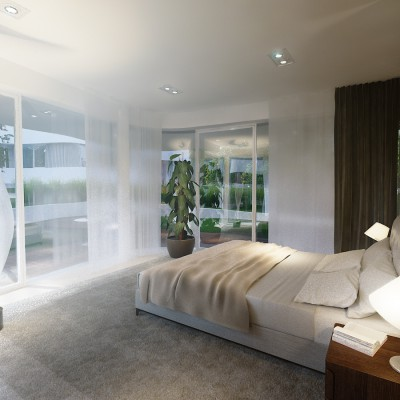 Large floor-to-ceiling panoramic glazing, external blinds for shade and privacy.