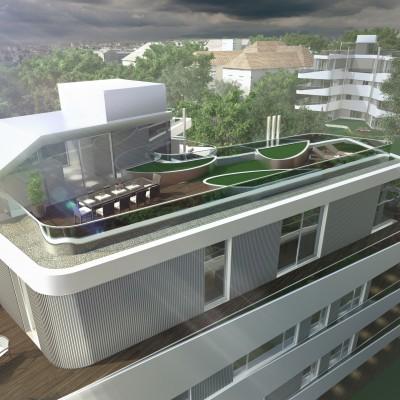 Fast 300 m2 Terrassenfläche, teilbegrünt mit Pflanztrögen und Rasenflächen.