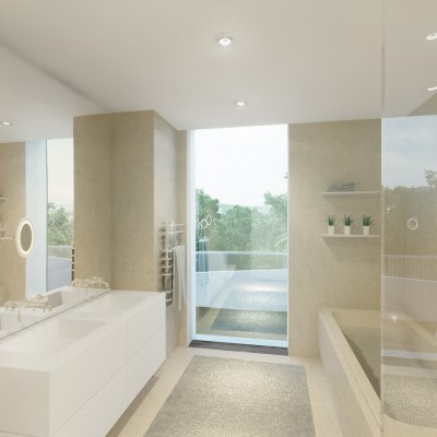 Light-filled bathrooms with suspended ceilings and built-in ceiling lights.