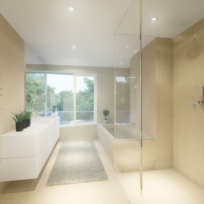 Floor-to-ceiling frameless glass construction for room and shower dividers.